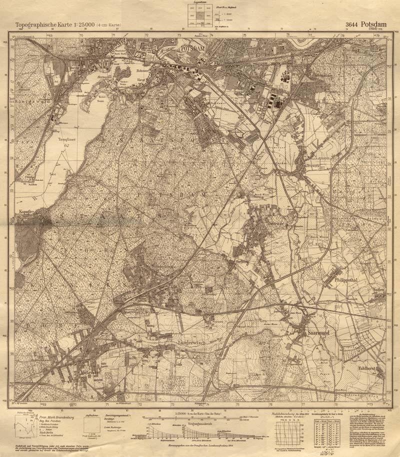 Historische Karte Potsdam.Ortsteil Michendorf Michendorf Langerwisch Historische